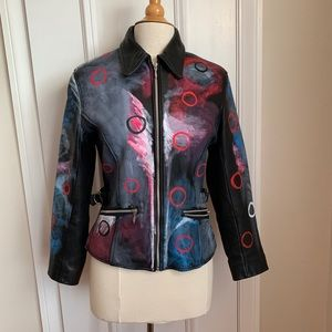 Jackets & Blazers - Painted leather coat by local Chicago Artist